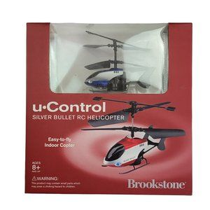 Brookstone U Control Silver Bullet RC Helicopter Blue Indoor LED Strobe Light